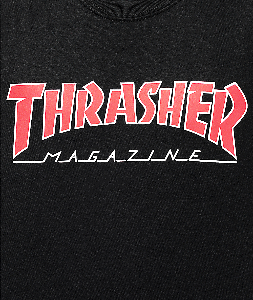 Thrasher Magazine Outlined Black T.