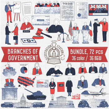 3 Branches of Government Clip Art Bundle, 72Pc by.