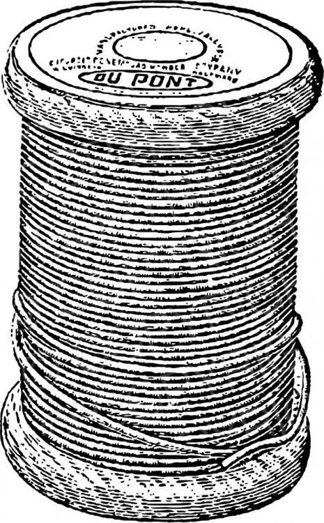 Sewing Thread Vintage Black and White Clip Art Objects.