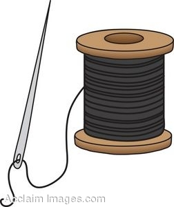 Clip Art of a Needle and Spool of Black Thread.
