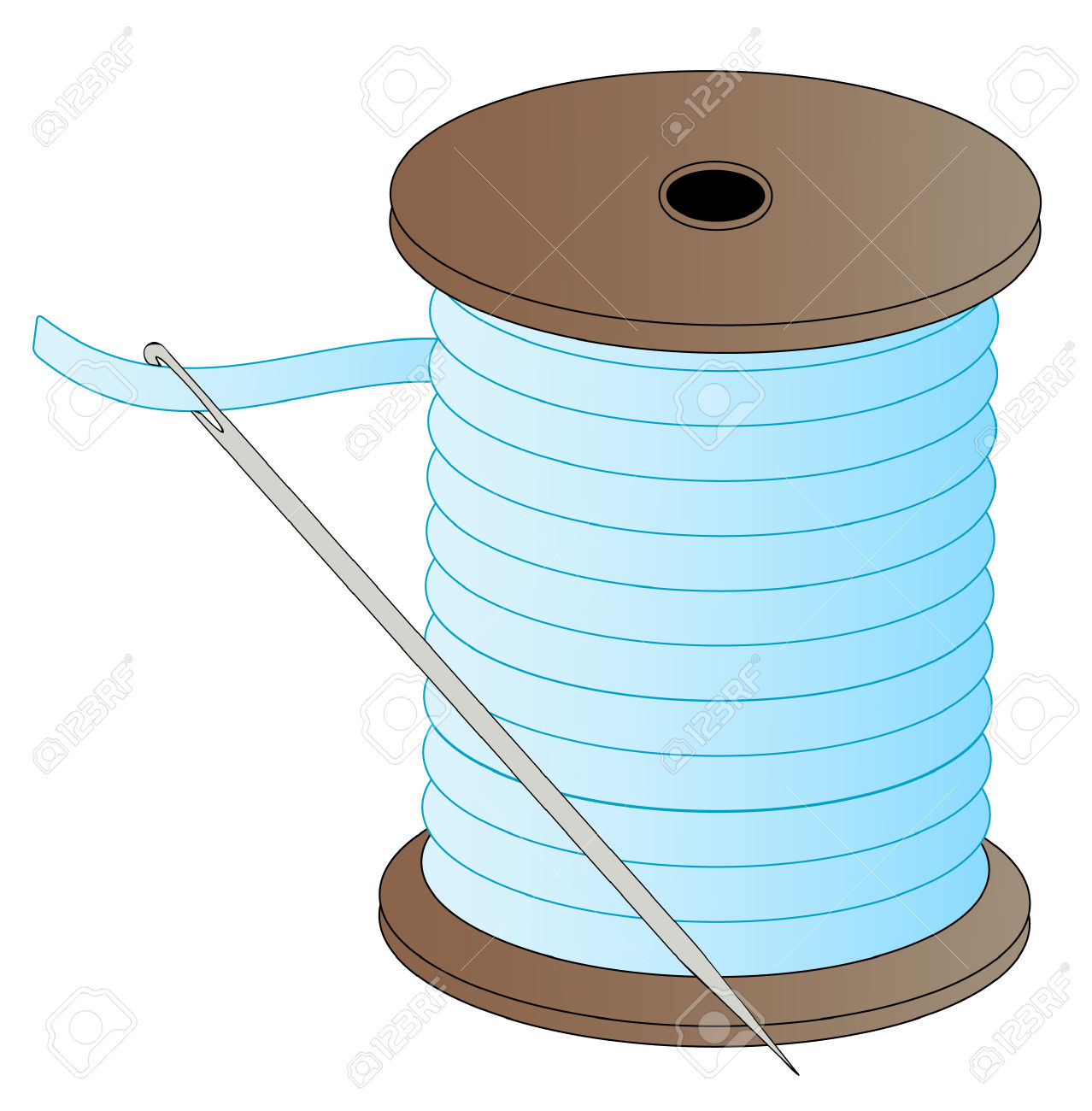 Blue Spool Of Thread With Threaded Needle Attached.