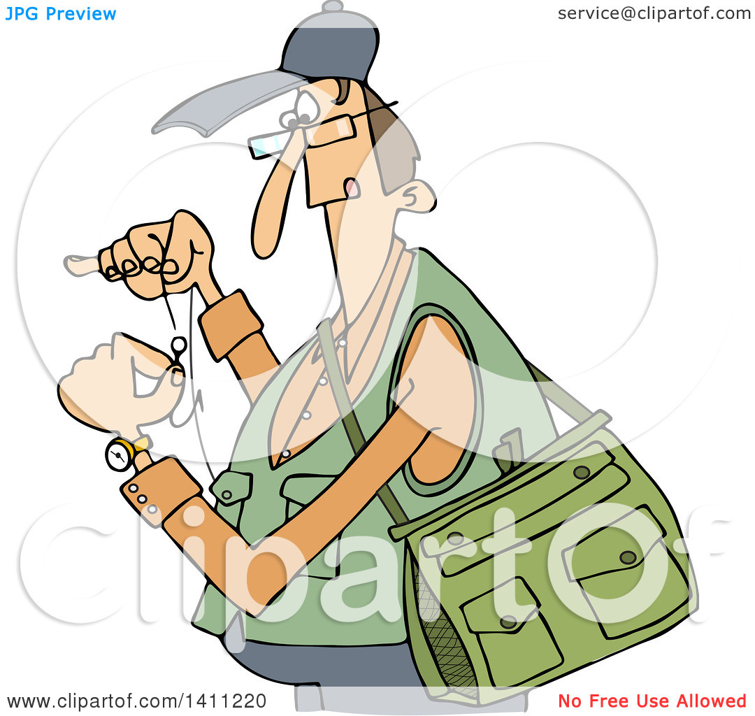 Clipart of a Cartoon Caucasian Fisherman Threading a Hook.
