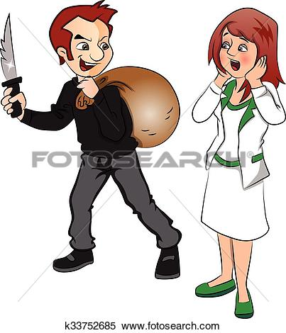 Clipart of Vector of burglar threatening woman with knife.