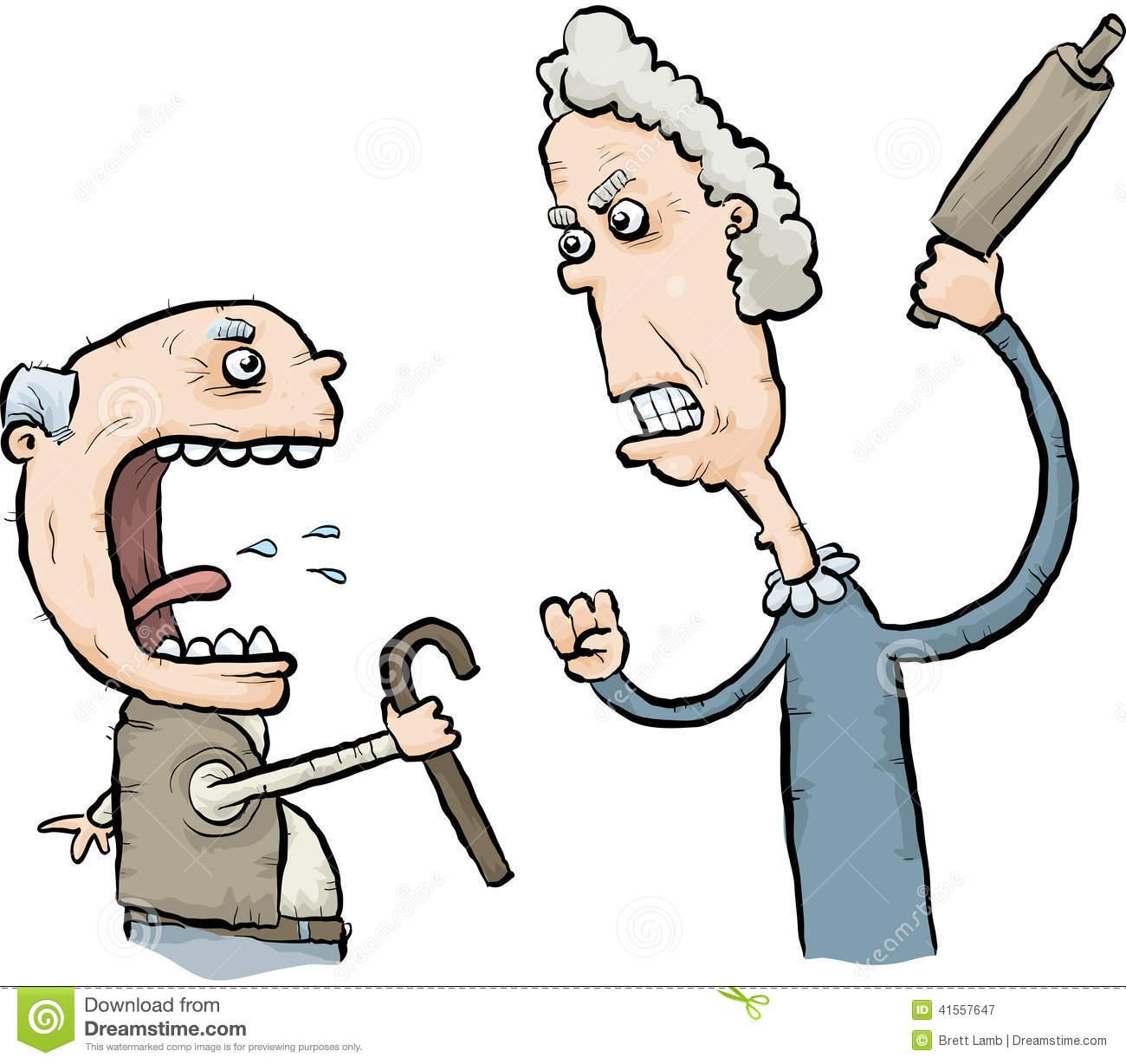 Arguing Senior Citizens Stock Illustration.