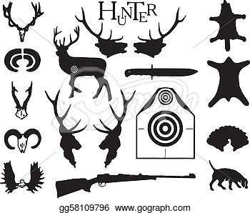 Threatened animal hunting clipart.