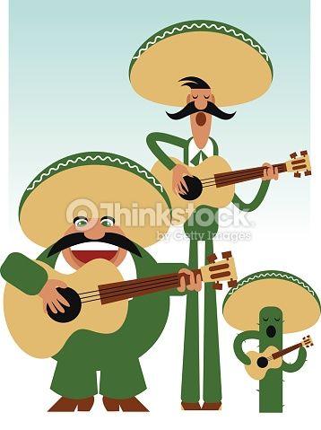 Three Amigos Mariachi Band Vector illustration.