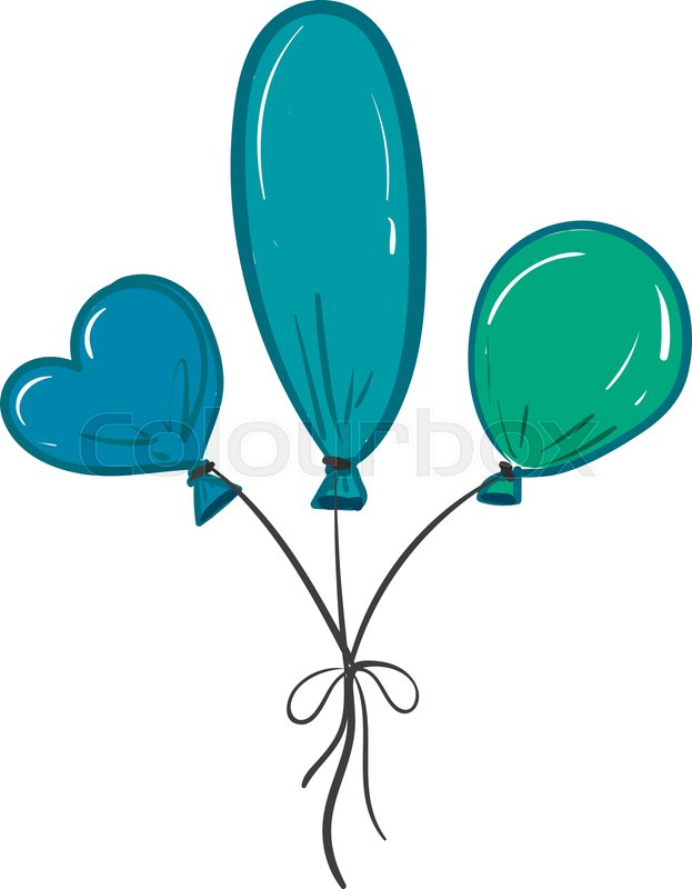 Three balloons of different colors and.