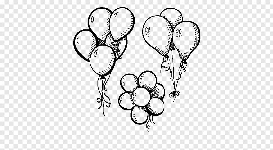 Three balloon illustration, Drawing Balloon Illustration.