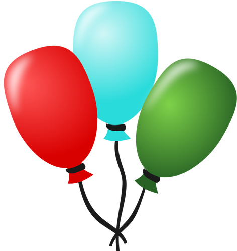 Vector drawing of three balloons tied together with a string.