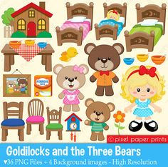 Goldilocks and the three bears Clip Art for scrapbooking, vector.