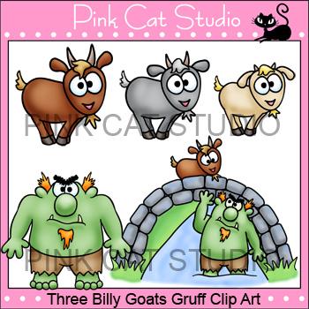 Three Billy Goats Gruff Clip Art Set.