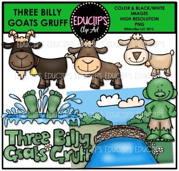 Three Billy Goats Gruff Clip Art Bundle {Educlips Clipart}.