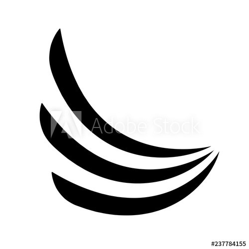 Three wave lines black logo.