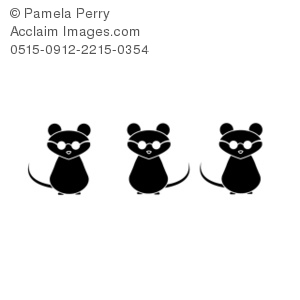 Black and White Clip Art Illustration of 3 Blind Mice in.