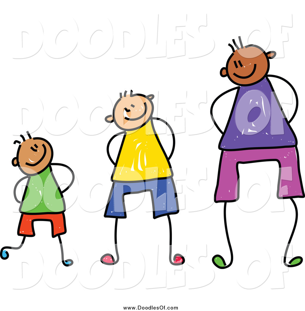 Vector Clipart of a Doodle of Three Boys at Different.