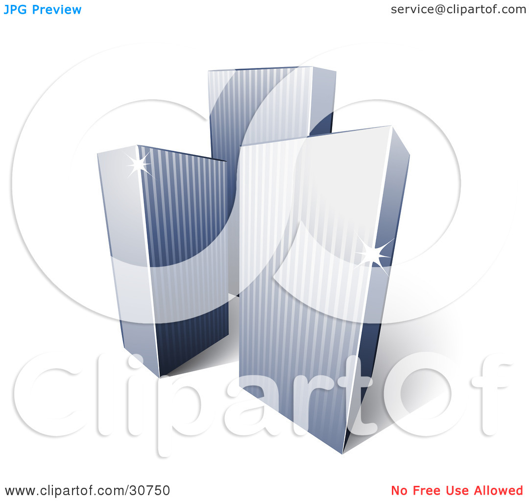 Clipart Illustration of Three Tall City Highrise Buildings With.