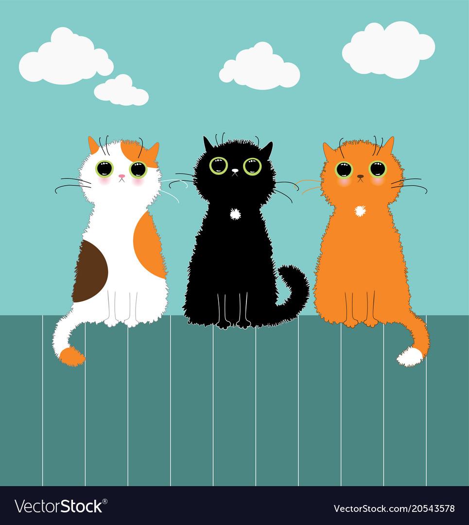 Three kittys on fence vector image.