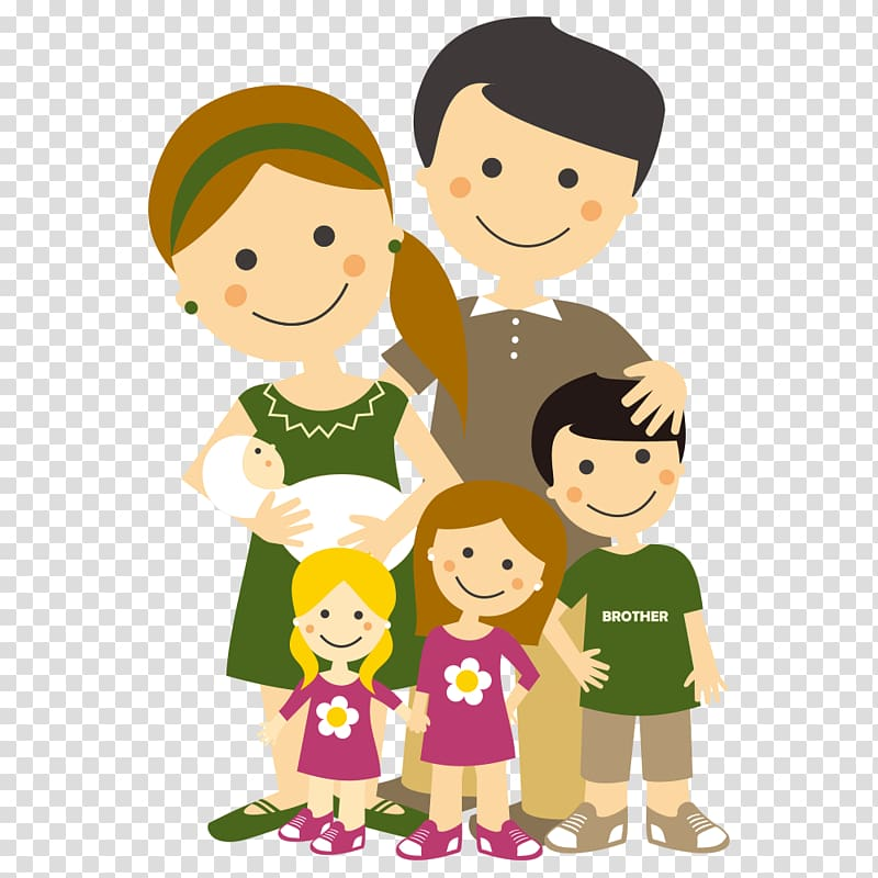Man and woman and three children illustration, Family.