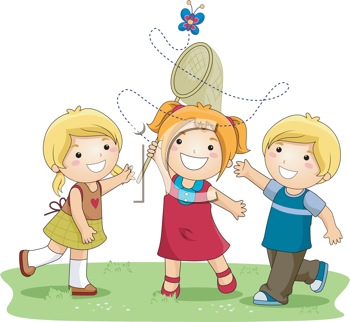 Royalty Free Clipart Image of Three Children Trying to Catch.