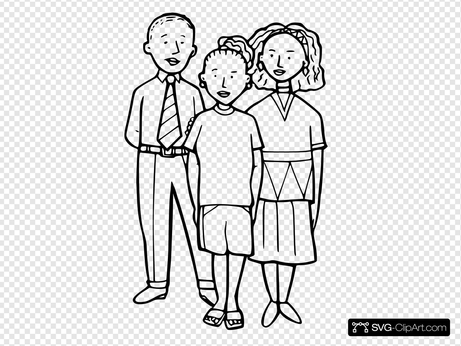 Three Children Outline Clip art, Icon and SVG.