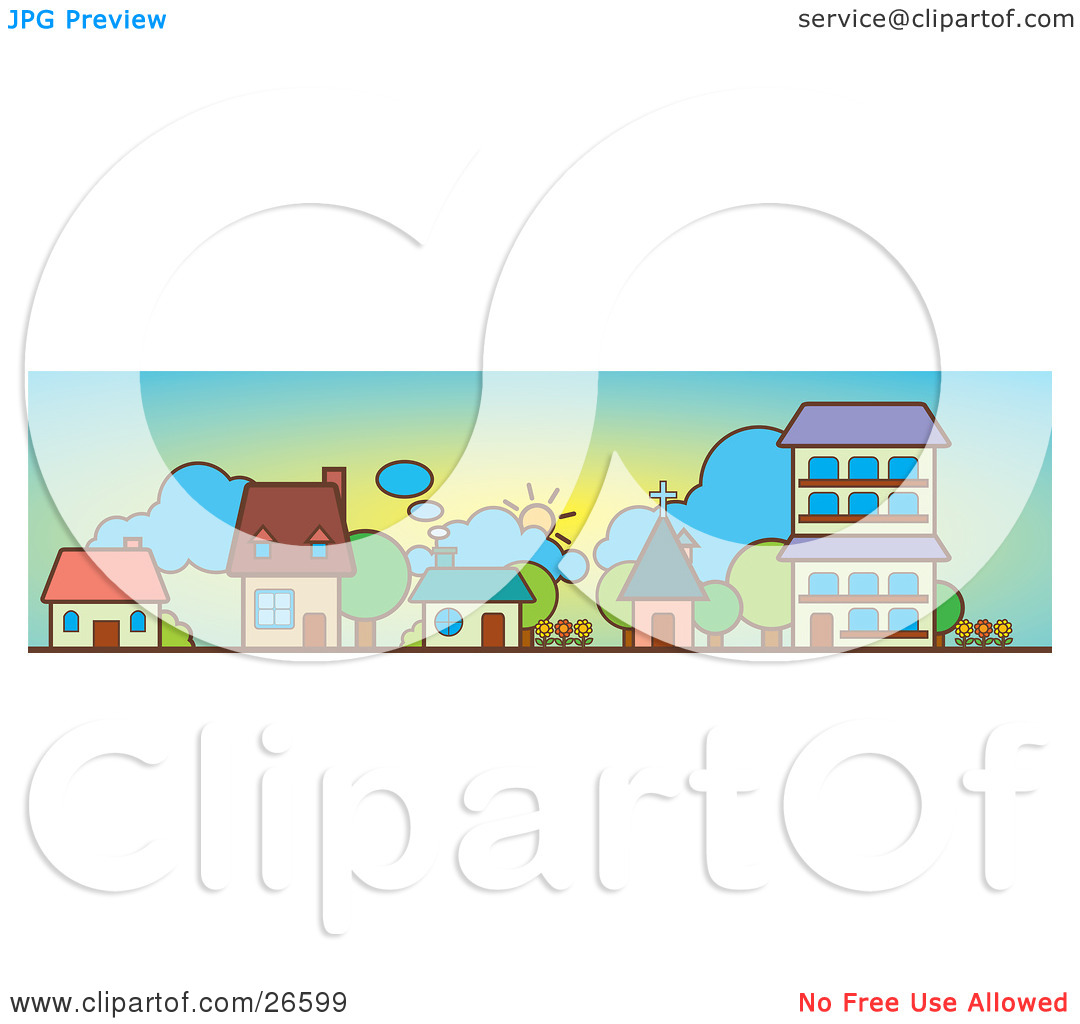 Clipart Illustration of Three Houses, A Church And Apartment.