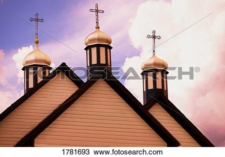Stock Photo of A church with three crosses on top 1781693.