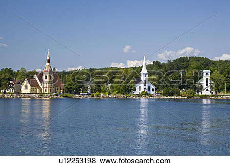 Pictures of Three churches at Mahone Bay, Nova Scotia, Canada.