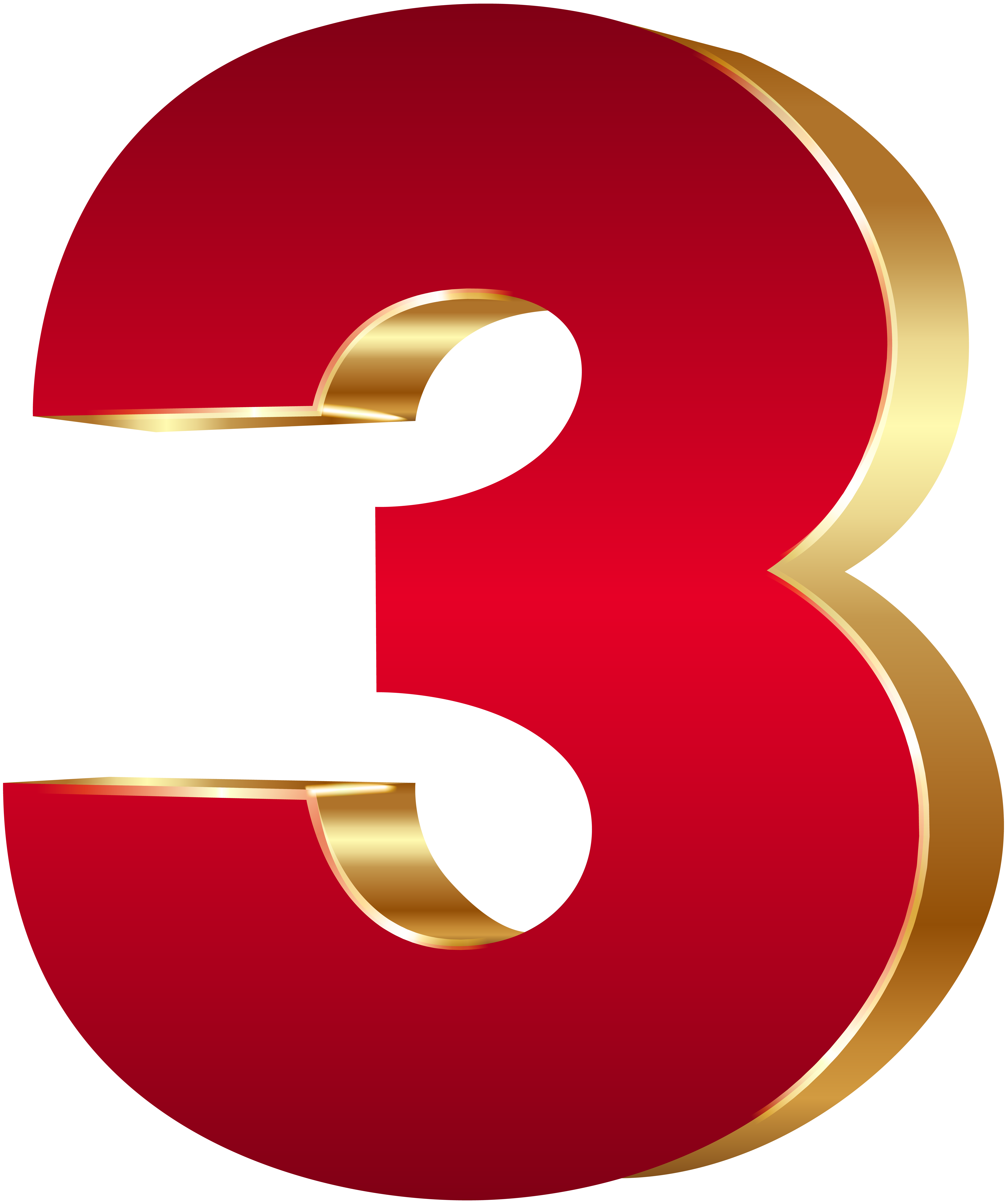 3D Number Three Red Gold PNG Clip Art Image.