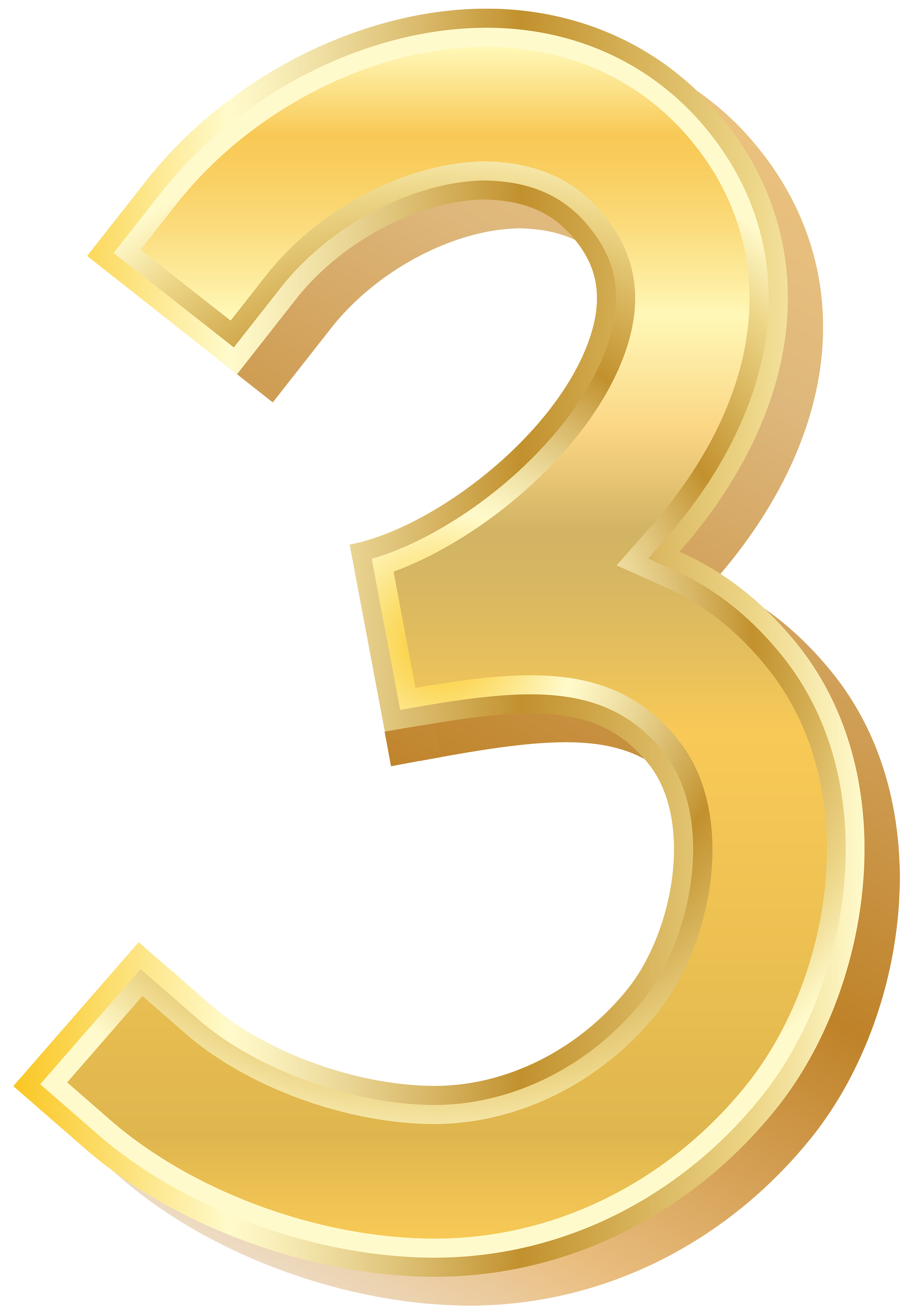 Gold Style Number Three PNG Clip Art Image.