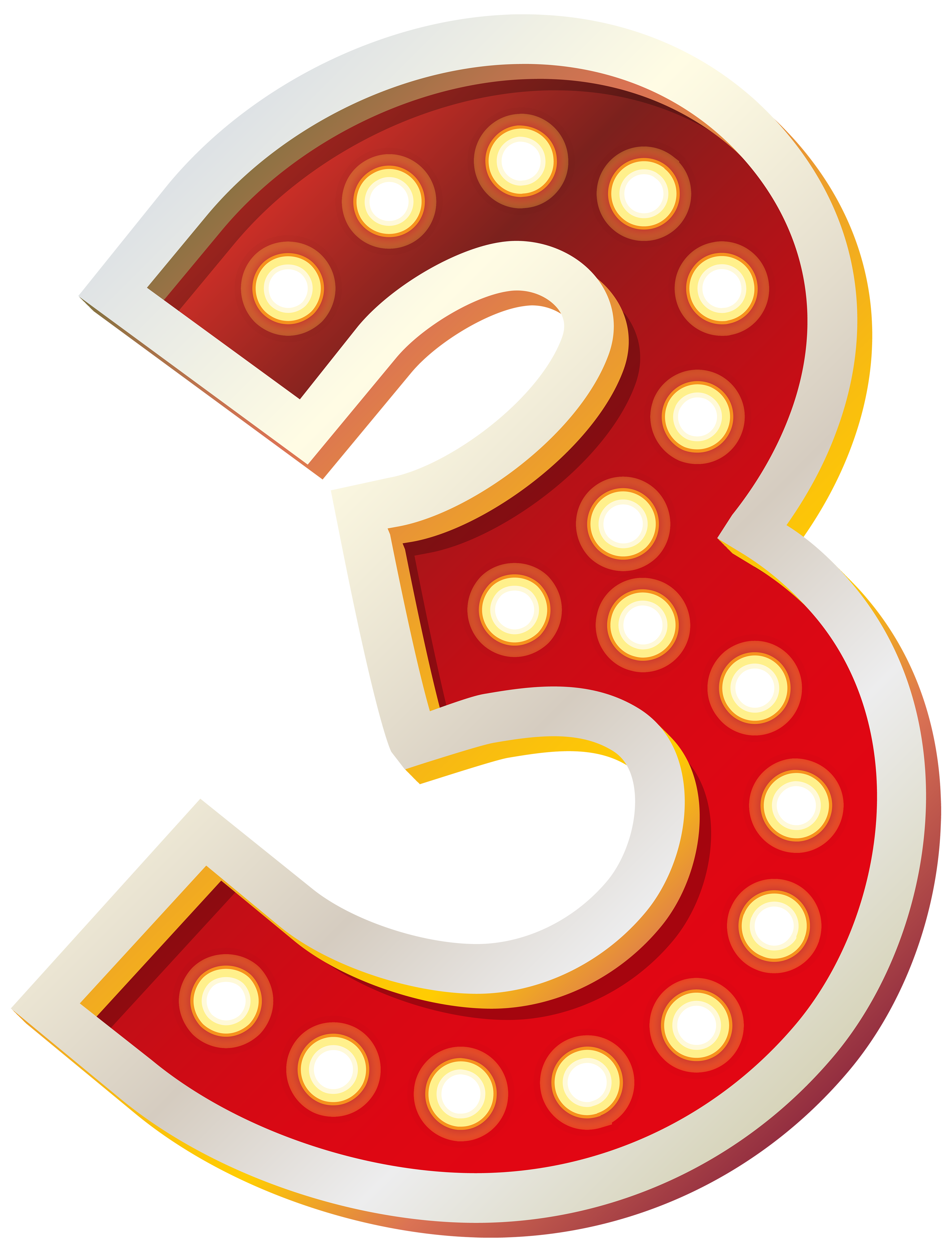 Red Number Three with Lights PNG Clip Art Image.