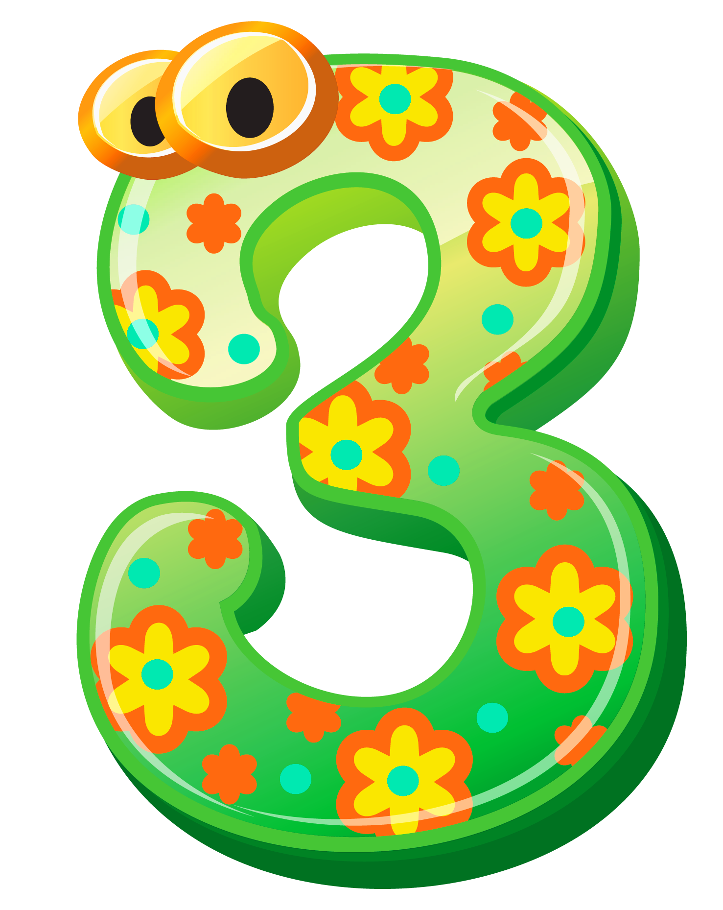 Cute Number Three PNG Clipart Image.