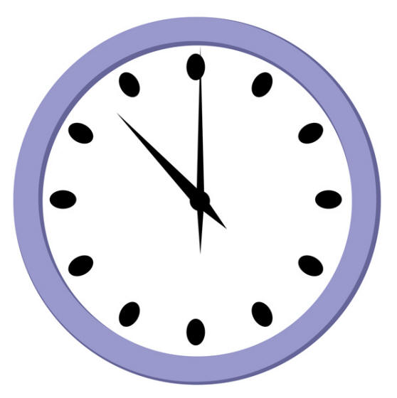 Wall Clock Striking Three O Clock Clipart.