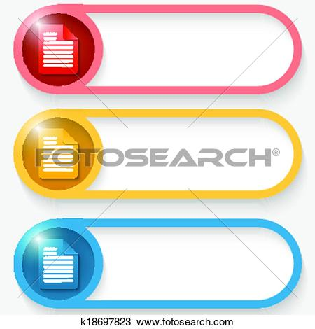 Clipart of set of three colored vector abstract button with notes.