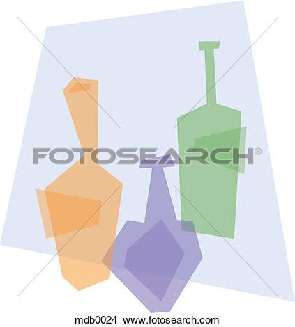 Drawings of Three colored wine bottles mdb0024.