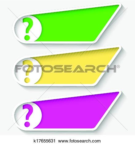 Clipart of set of three colored box for text and question mark.