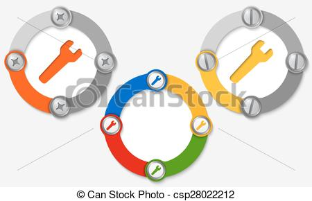Vector Clip Art of Set of three colored frames and spanner.