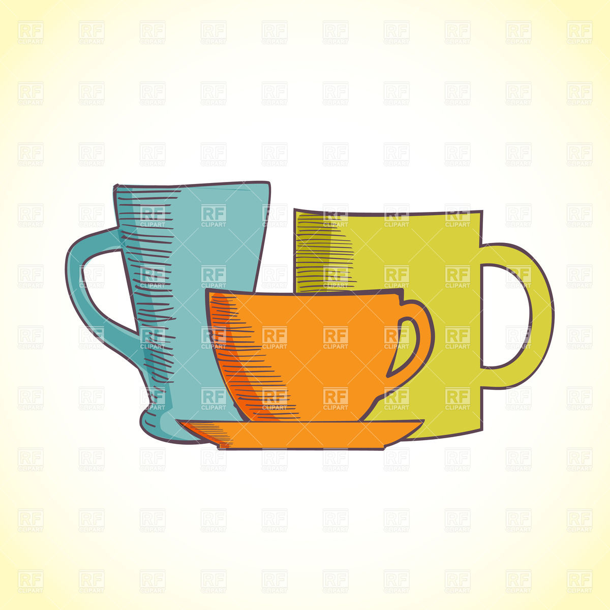 Three colored coffee cups Vector Image #23130.