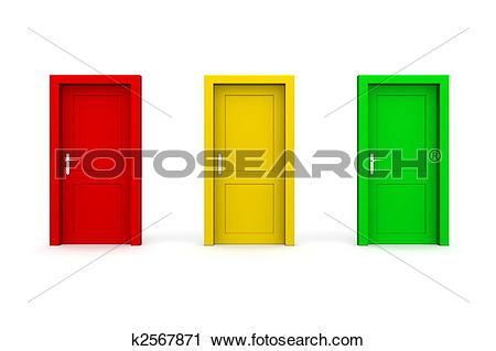 Clipart of Three Coloured Doors.
