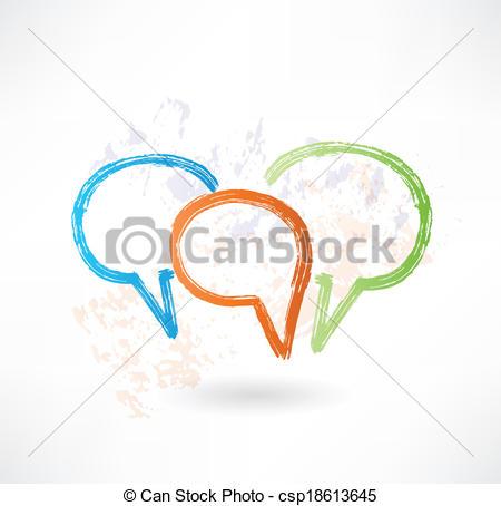 EPS Vector of Three coloured speech bubbles. Brush icon.