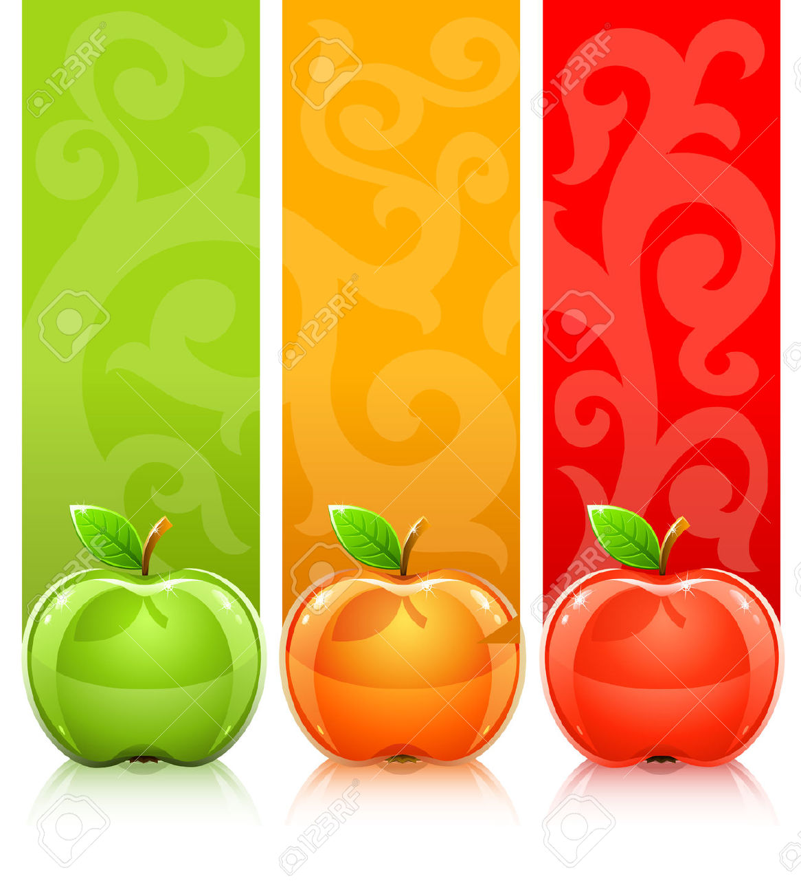 Three Coloured Apples On Decorative Background Royalty Free.