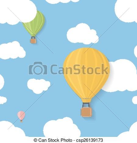Vectors Illustration of Three coloured aerostats in blue skies.