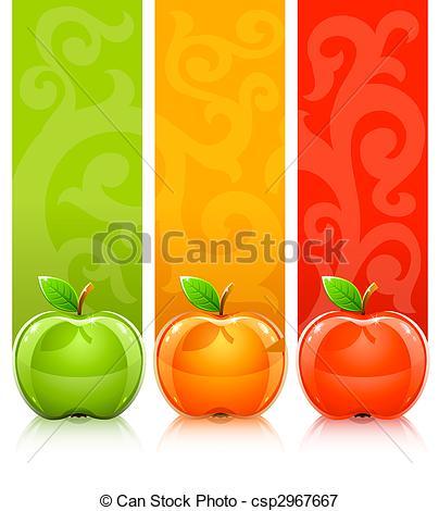 Stock Illustrations of three coloured apples on decorative.