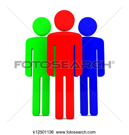 Stock Images of Teem of Three Coloured Human Figure k12501136.