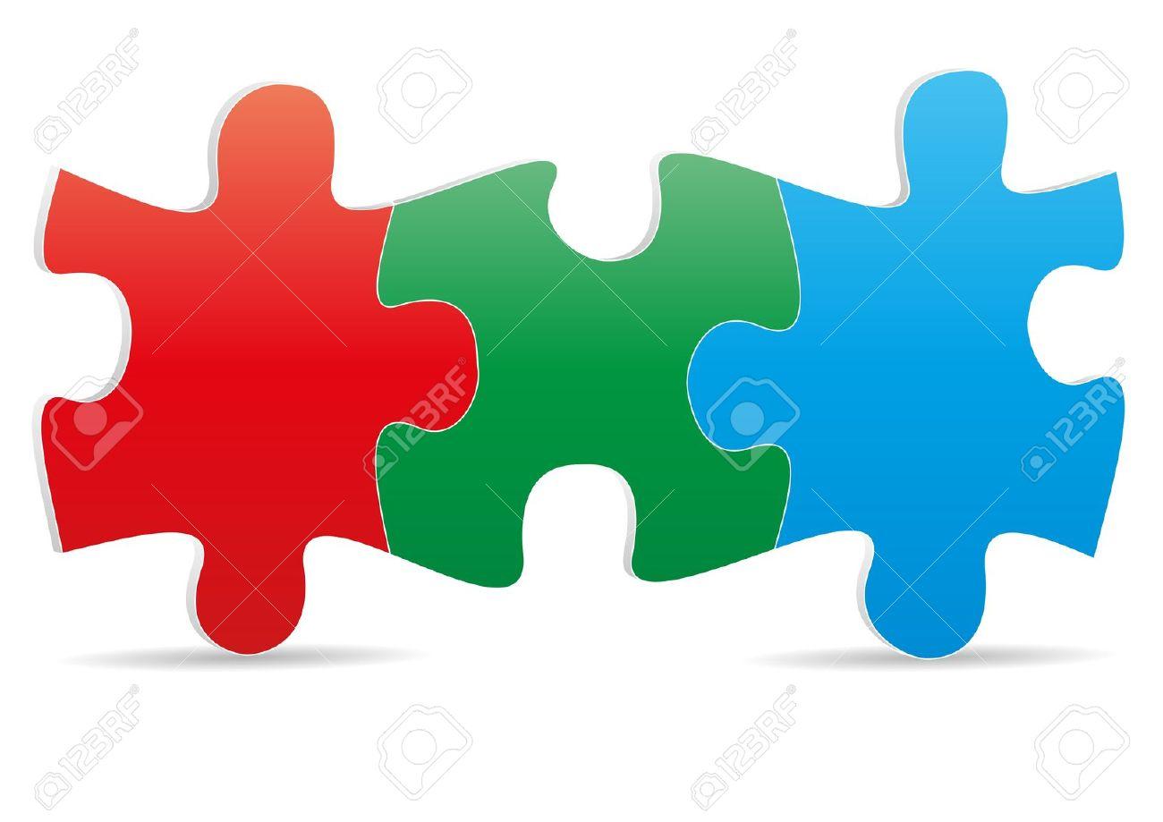 Puzzle pieces jigsaw color clipart.