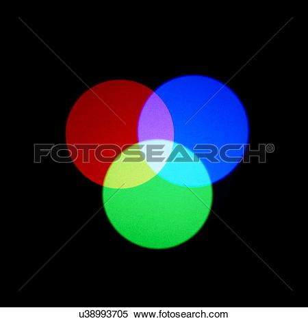 Stock Illustration of Additive primary colours. Three coloured.