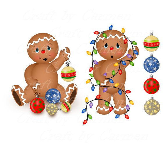 Gingerbread, clipart, scrapbook, cookies, cupcake, digital.