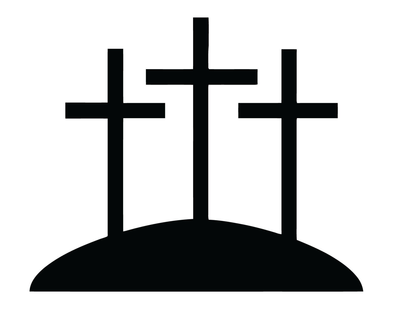 Three crosses on a hill cliparts.