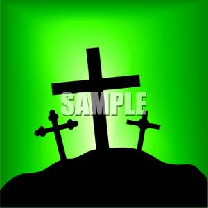Silhouette Of Three Crosses On A Hill.