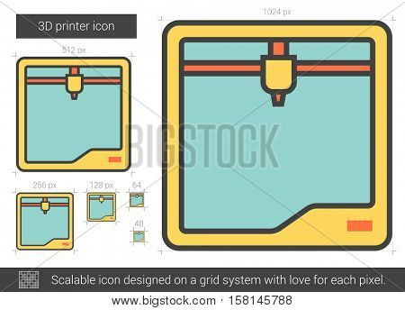 Three D printer vector line icon isolated on white background.
