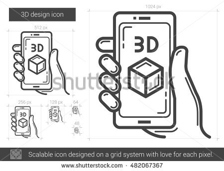 3d Screen Line Icon Stock Photos, Royalty.